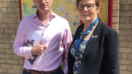 South Suffolk MP James Cartlidge and Suffolk County Councillor Mary Evans. Picture: JAMES CARTLIDGE