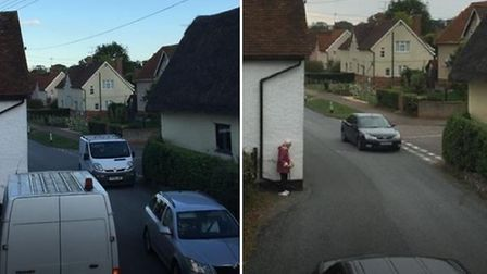 CCTV images captured by resident Andy Laughlin show what happens at the narrow bend at busy times of