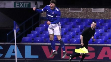 Zak Brown celebrates his first goal against Kings Lynn in the FA Youth Cup at Portman Road Picture: