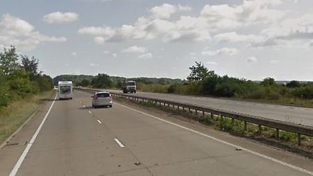 The A11 is partially blocked Southbound between Red Lodge and Mildenhall. Picture: GOOGLE MAPS