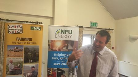 NFU vice president Stuart Roberts speaking to Suffolk branch members at their AGM Picture: SARAH CH