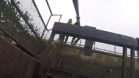 The video feed from the camera's is fed back to the team on land. this camera was being lowered into