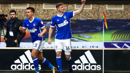 Callum Connolly (right) made 35 appearances for Ipswich Town during his 2017/18 loan spell. Photo: S