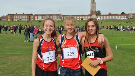 The top three in the Mid/South Suffolk intermediate girls' race, from left: Amy Goodard, April Hill