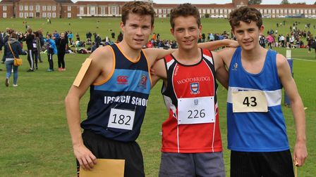 The top three runners in the Mid/South Suffolk intermediate boys' age group, from left: Ollie Hitchc