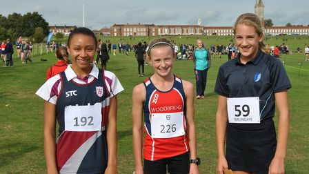 The first three home in the Mid/South Suffolk junior girls' race, from left, Alexandra Bell-Cobbold,
