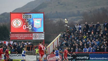 Ipswich fans with the northern hills in the background at Accrington Stanley in the FA Cup clash las