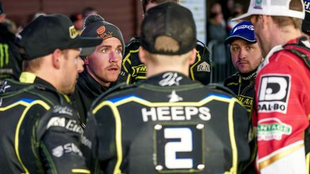 Witches team manager Ritchie Hawkins with a post meeting team talk following the Witches home defeat