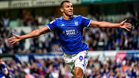 Kayden Jackson wheels away after scoring the late winner for Ipswich Town against AFC Wimbledon. Pic