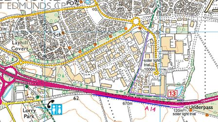 The blue section on the map shows the area that will be surfaced using recycled materials. The pink