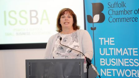 Sarah Howard MBE at the Suffolk Chamber of Commerce and the EADT EU referendum debate. Photo: Phil M