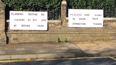 New posters opposing the cheese wedges have been put up in Woodbridge Picture: CLAIRE PADFIELD