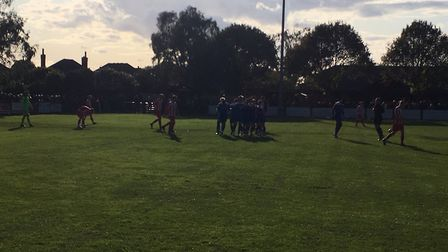 In the shade: Bury Town players celebrate taking the lead, via Will Gardaner's 23rd minute strke. Pi