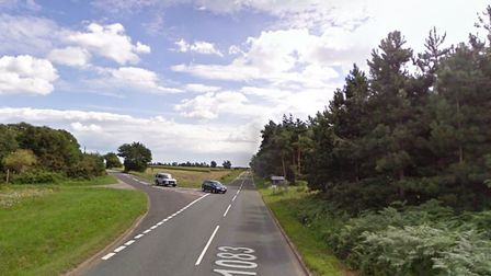 Two vehicle collision at the junction of Heath Road and the B1083 near Sutton Hoo. Picture: GOOGLE M