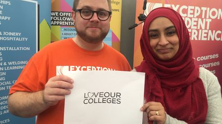 Craig Shimmon and Julie Begum from Suffolk New College backing the Love Our Colleges campaign. Pictu