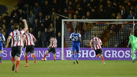 Nathan Arnold scores Lincoln City's late winner against Ipswich Town in 2017. Photo: Pagepix