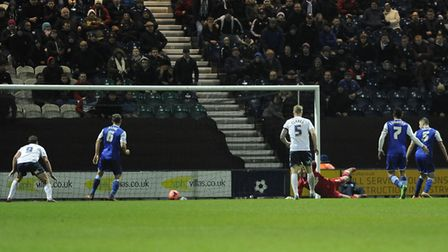 Joe Garner completes his hat-trick as Preston knocked Ipswich out the FA Cup in 2014. Photo: Pagepix