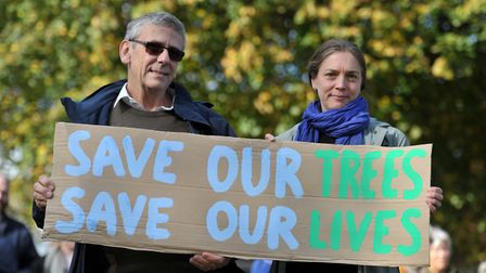 Peter James and Charlie Zakss protesting against the 'cheese wedge' development Picture: SARAH LU