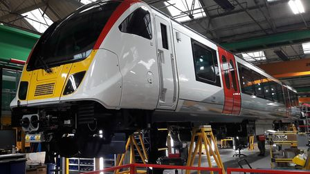 One of Greater Anglia's Bombardier Aventra trains nearing completion at Derby Picture: GREATER ANGLI