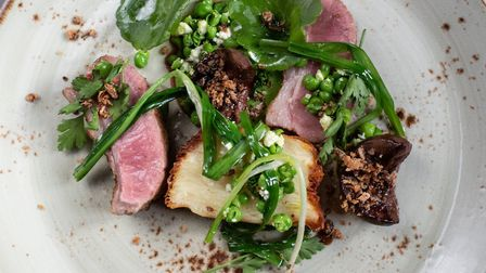 Lamb with spring greens by Head Chef Lee Bye, at Tuddenham Mill Picture: SARAH LUCY BROWN