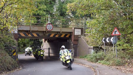A vehicle has struck the low bridge at Needham Market Picture: SARAH LUCY BROWN