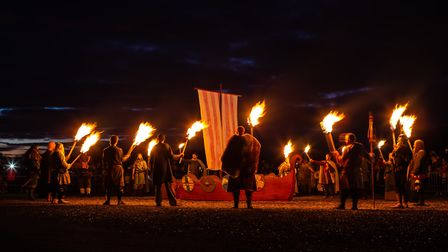 Stonham Barns' Saxon and Viking festival includes a spectacular torchlit parade and boat burning dis