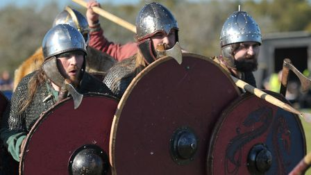Battle reenactment at the Saxon and Viking festival at Stonham Barns Picture: SARAH LUCY BROWN