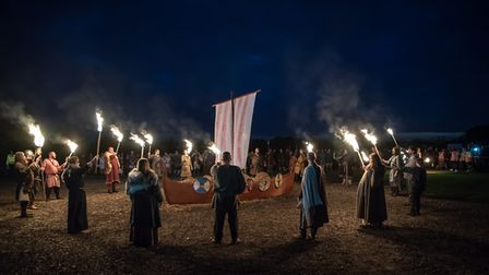 Saxons and Viking boat burning ceremony at the festival Stonham barns Picture: Barry Pullen