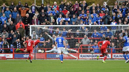 Thomas Holy is beaten from the penalty spot at Accrington Stanley Picture Pagepix Ltd