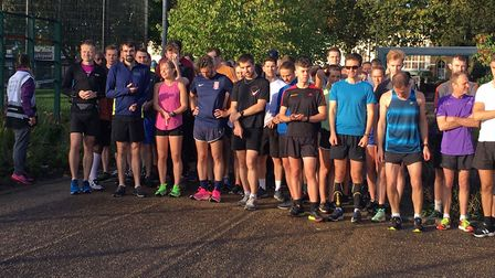 Runners assemble for the start of the 359th Burgess parkrun, which had 466 finishers. Picture: CARL