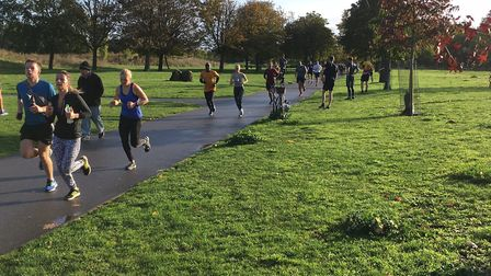 Runners approach the finish to last weekend's Burgess parkrun, held at Camberwell. in South London.