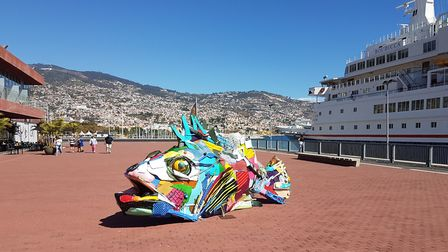 A bizarre fish sculpture by the quayside at Funchal in Madeira. Picture: PAUL GEATER
