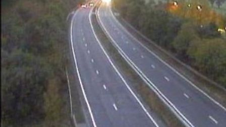 The A14 is closed near Newmarket after a lorry smashed through the central reservation. Picture: HIG