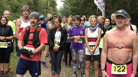 Getting ready for the 10K Honour Run through Rendlesham forest where participants raised money for t