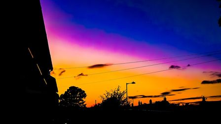 Skies of orange, purple and red have been greeting Suffolk Picture: ROCHELLE KERSEY