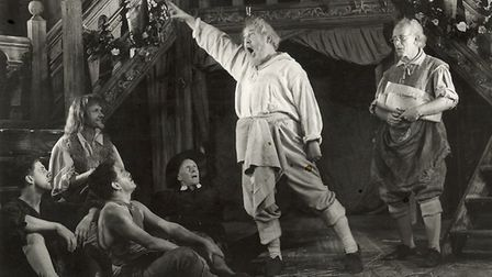 Bottom, played by Charles Laughton, rehearses with the mechanicals in Peter Hall's staging of A Mids