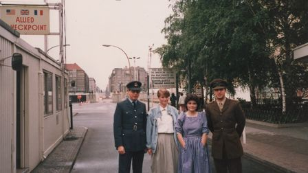 Charles Macdowell (right) with guests at Checkpoint Charlie Picture: CHARLES MACDOWELL