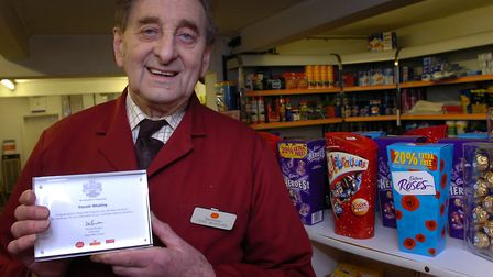 Tony Whatling in his shop at Westhall in January, 2012, after being recognised by the Post Office an