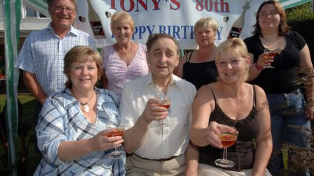 Tony Whatling in 2005, celebrating his 80th birthday at Westhall with friends and villagers Picture