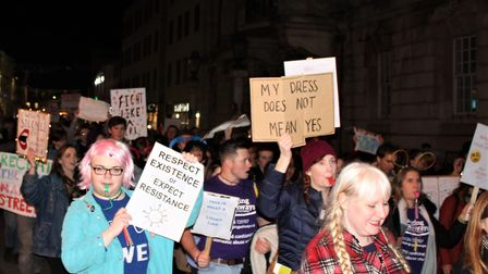 The demonstration marched down Colchster's High Street, calling for an end to violence against women