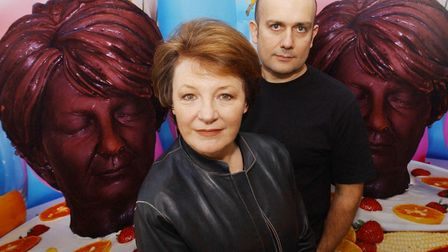 Delia Smith with artist Marc Quinn, who made a sculpture of the TV chef out of chocolate. Picture: