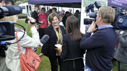 Delia Smith talks to the media at the launch of the Stowmarket Foodbank at Stowmarket Town Council O