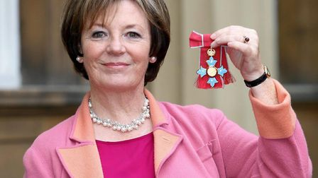 TV celebrity chef Delia Smith after she received her Commander of the British Empire Medal (CBE) fr