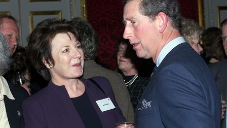 Prince of Wales talks to TV chef Delia Smith, before the Radio 4 Food Programme Awards ceremony at S