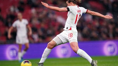 England's Ellen White scores her sides first goal during the Women's International Friendly match at