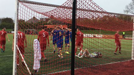AFC Sudbury go close to another goal in the first half, from a corner routine, but they had already