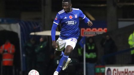 Toto Nsiala in action during Town's 1-1 draw with Lincoln City at Portman Road in the first round of