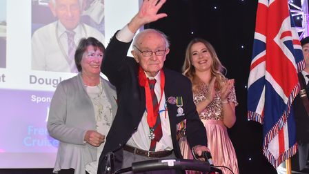 Tony Pyatt acknowledges the crowd, who gave him and other D-Day veterans a standing ovation Picture