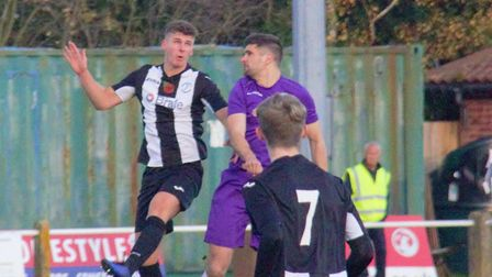 Action from Long Melford's victory at Woodbrige. Photo: GEORGE FERGUSON