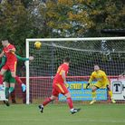 Luke Ingram goes close with this header, against Leatherhead. Picture: BEN POOLEY
